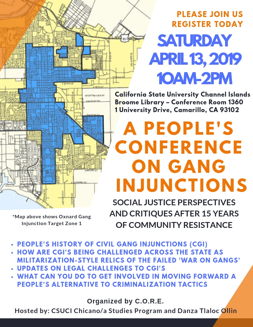 A 'People's Statewide Conference on Gang Injunctions' to be