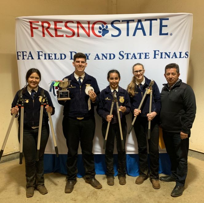 Righetti High School FFA Fruit Tree Pruning Team win honors recent Mid-Winter State Finals