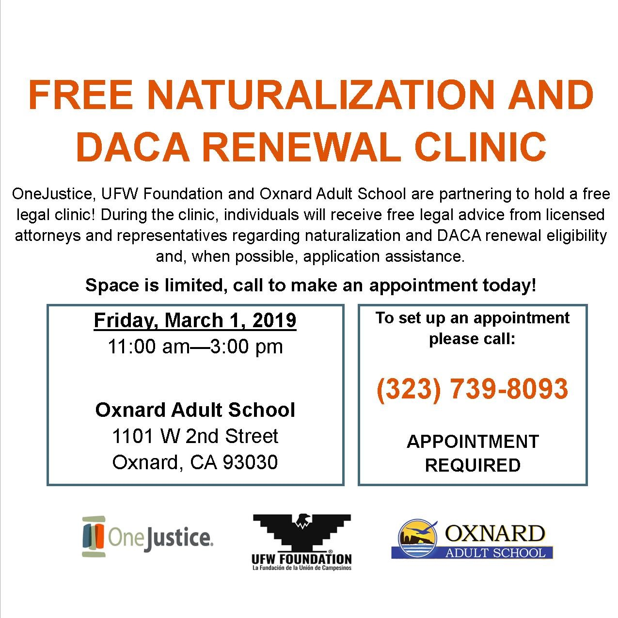 Bilingual report: Free Naturalization and DACA Renewal Legal Clinic to be held March 1 in Oxnard