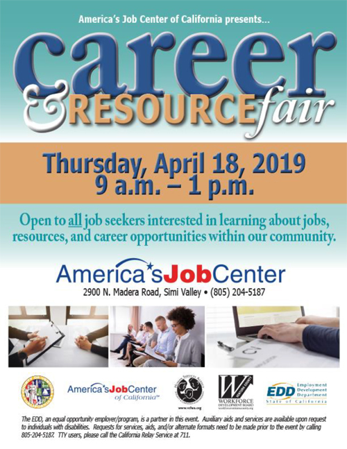 April 18 — Career and Resource Fair at America's Job Center in Simi Valley
