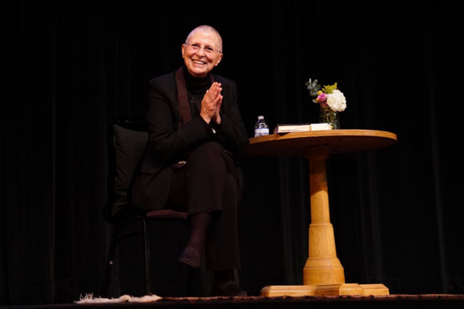 Author and Buddhist Teacher Roshi Joan Halifax Draws Capacity Crowd for Talk on Life and Death