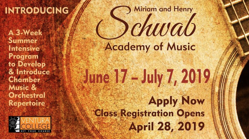 June 22 through July 7 — Miriam & Henry Schwab Academy of Music at Ventura College