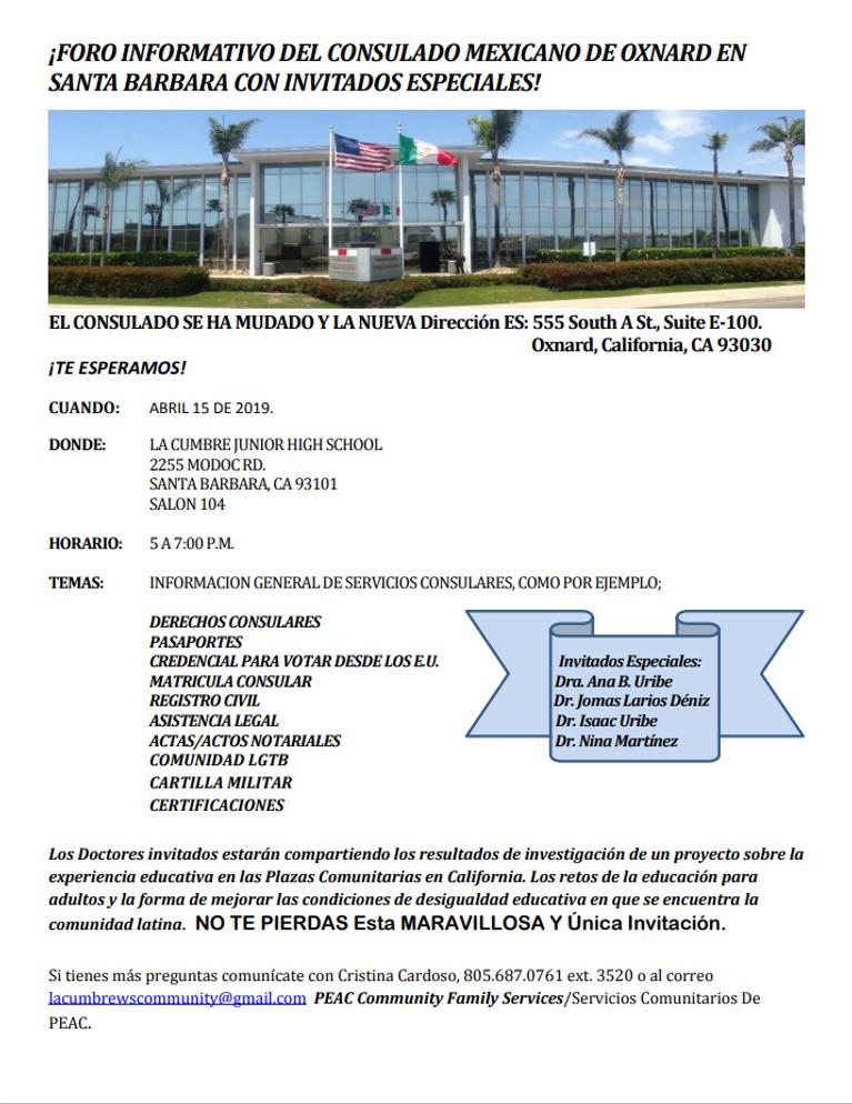 15 de abril — Foro Informativo de Consulado Mexicano de