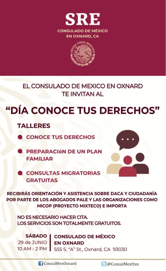 29 de junio — El Consulado de México en Oxnard te invitan al